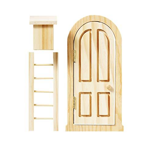 Panduro Minitür-Set, aus Holz - kleine Wichteltür mit Zubehör für Miniaturlandschaften