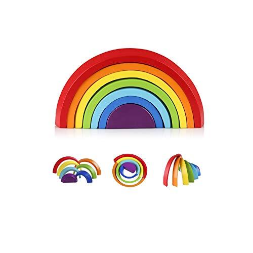 Coogam Regenbogen Holz Spielzeug Bausteine Vorschule Montessori Stapeln Spielzeug Baby Lernen Spielzeug...