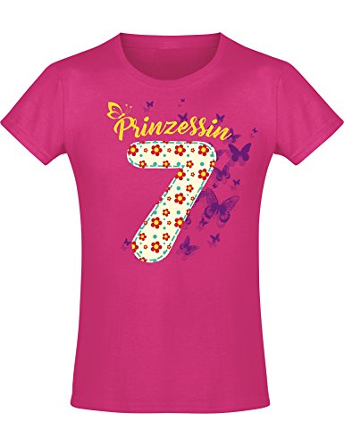 Mädchen Geburtstags T-Shirt: 7 Jahre mit Blumen - Sieben Siebter Geburtstag Kind-er - Geschenk-Idee -...