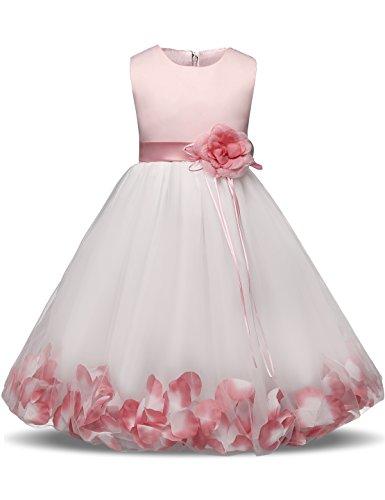 NNJXD Mädchen Tutu Blütenblätter Schleife Brautkleid für Kleinkind Mädchen, Großes Rosa, 3-4 Jahre/...