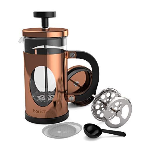 bonVIVO® GAZETARO I Design-Kaffeebereiter Und French Press Coffee Maker In Kupfer-Optik, Kaffee-Kanne Aus...