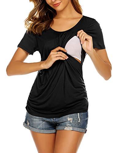 UNibelle Damen Stillshirt Kurzarm umstandsnachthemd still Umstand top Shirt umstandstop kurz dünn Black XL