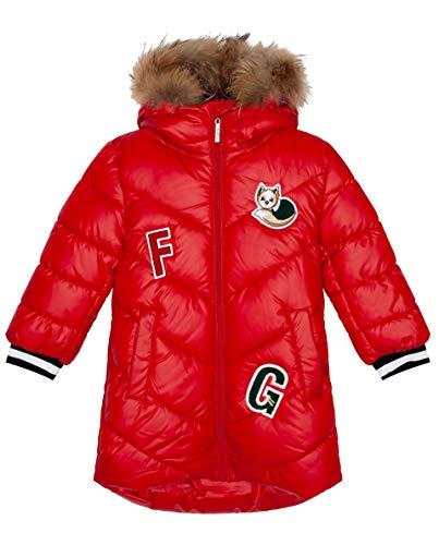 GULLIVER Mädchen Mantel Kinder Jacke Winter Steppjacke Rot Lang mit Kapuze 7 Jahre