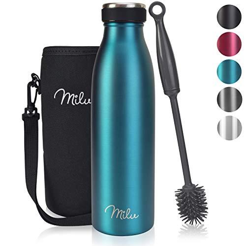 Milu Edelstahl Trinkflasche 500ml, 750ml, 1000ml – Thermosflasche, Isolierte Wasserflasche, Auslaufsichere...