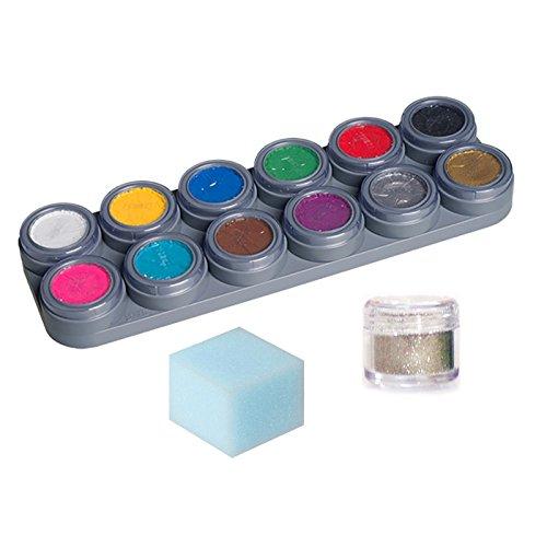 GRIMAS Water Make up Theaterschminke Kinderschminke 12 Farben Palette A Schwamm Glitzer Set