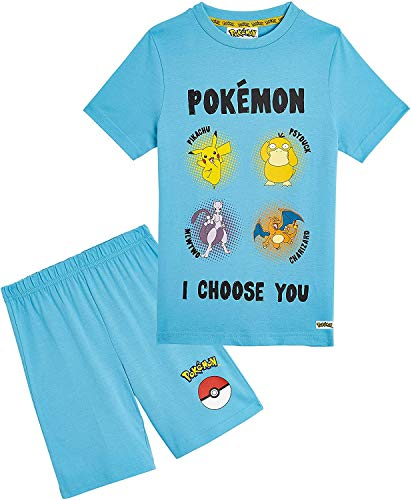 Pokemon Schlafanzug Jungen, Kinder Pyjama Kurz Aus 100% Baumwolle, Zweiteiliger Schlafanzug Mädchen Set,...