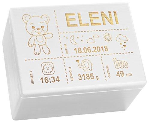 LAUBLUST Holzkiste mit Gravur - Personalisiert mit GEBURTSDATEN - Weiß, Größe XL - Teddybär Motiv -...