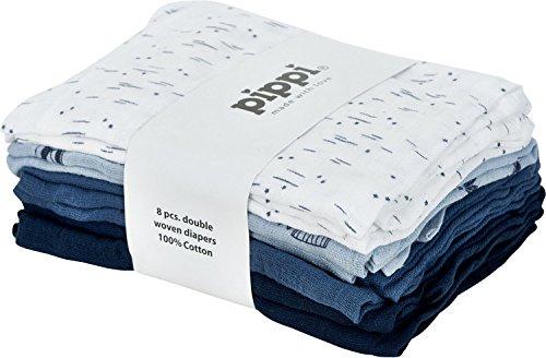 pippi Mulltücher 8er-Pack blau/marine/weiß Größe 70x70 cm