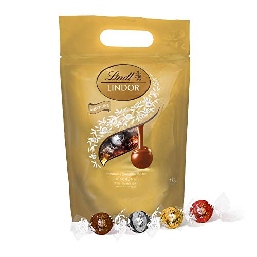 Lindt LINDOR Kugeln Klassische Mischung | 1 KG Beutel | ca. 80 Kugeln Vollmilch-Schokolade, Weiße Schokolade,...