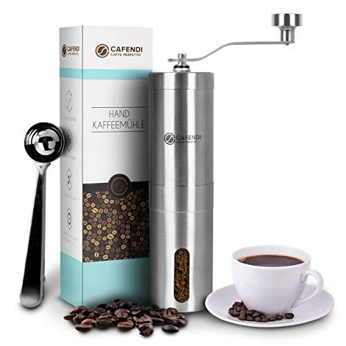 Cafendi Kaffeemühle Manuell | Edelstahl Handkaffeemühle - Robustes Mahlwerk aus Keramik | Espressomühle...