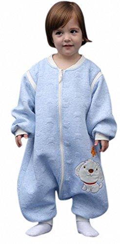 ganzjahres Baby Schlafsack HUND mit Füßen kinder schlafanzug aus Baumwollen Junge und Mädchen...