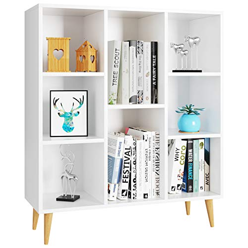 Homfa Bücherregal, Regal mit 8 Fächer, Standregal Schrank Raumteiler 80x29.5x93cm weiß