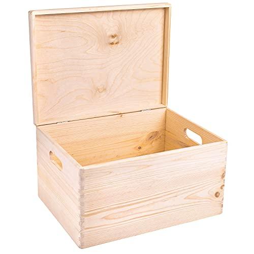 Creative Deco XXL Große Natur Holz-Kiste mit Deckel | 40x30x24 cm (+/-1cm) | Erinnerungsbox Baby | Holz-Box...