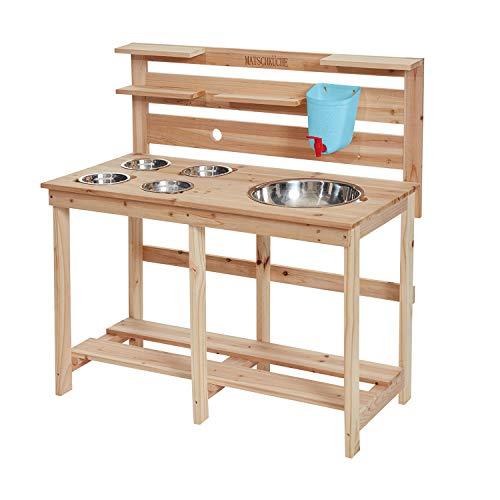 Miganeo Kinder Holz Matschküche Kinderküche für Garten mit Edelstahlschalen Natur 75207