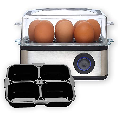 Venga Multifunktionaler Eierkocher, mit Einsatz für pochierte Eier, 500 W, Schwarz/Edelstahl, VG EK 3000
