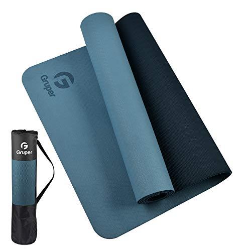 Gruper Yogamatte rutschfest,TPE Trainingsmatte rutschfest und Fitnessmatte+Trageband + Tasche, Gymnastikmatte...