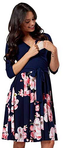 HAPPY MAMA Damen Umstandskleid Stillkleid 3/4 Ärmel 525p (Style 7, 36-38, S)