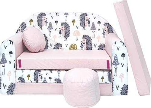 Pro Cosmo Kindersofa Bettfunktion 3in1 Sofa + Gratis Polsterhocker und Kissen Kindermöbel Set - HX1 Rosa 168...
