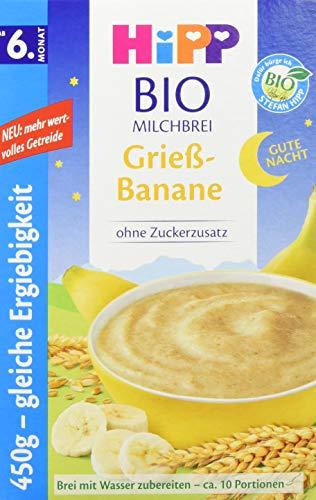 Hipp Bio-Milchbreie ohne Zuckerzusatz-Vorratspackung, ab 6. Monat, Gute-Nacht-Brei Grieß Banane, 4er Pack (4...