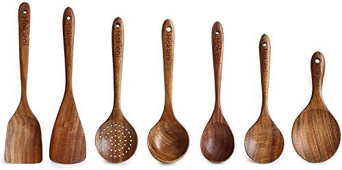 Hokieni Küchenhelfer Set, 7 Stück Holz Küchenutensilien Sets, Hitzebeständig und Antihaft, Japanischer...