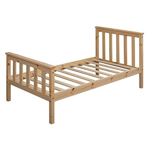 FineBuy Kinderbett 140x70 cm aus Kiefer Holz Natur mit Lattenrost Schlafbett | Bett für Kinder Einzelbett |...