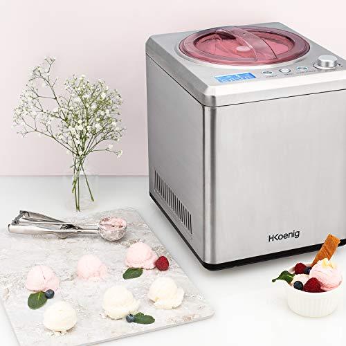H.Koenig professionelle Eismaschine HF340 - Elektrisch - 2 L - 180 W - Kühlfunktion - Schnelle Zubereitung -...