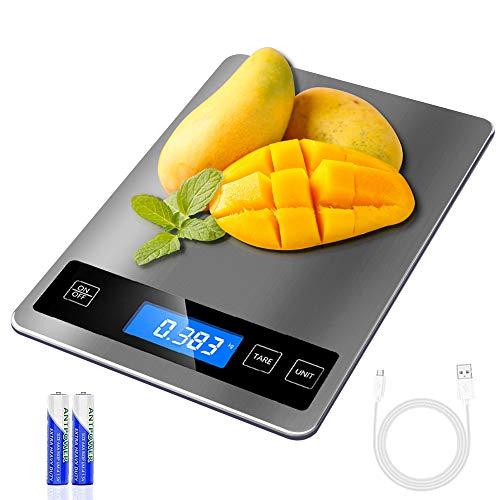 REEXBON Küchenwaage Digital Haushaltswaage Digitalwaage 15kg/33lb Elektronische Digitalwaagen Professionelle...