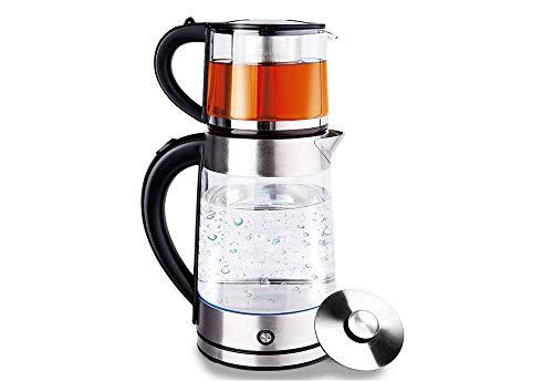 Glas Edelstahl Wasserkocher Wasserkessel Teekocher Teekessel Caymatik 1,7 Liter mit LED-Beleuchtung...