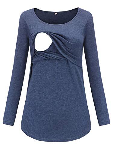 Love2Mi Damen Schwangere Stillen Shirt Nursing Langarm Rundhals Top Schwangerschaft Umstandstop,Marineblau,M
