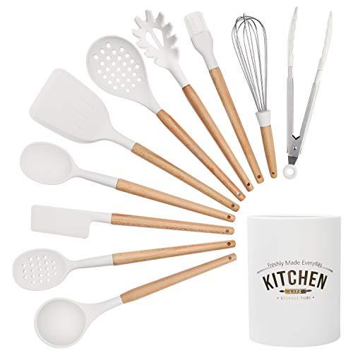 Corafei Küchenhelfer Set 10 Stücke Kochbesteck Küchenutensilien aus Silikon und Holz, Löffel Wender Zange...