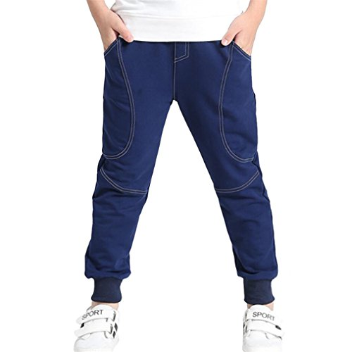 Reciy Boy 's Baumwolle Sweatpants Verstellbare Taille Jogger Hose, Alter, 130/5-6 Jahre, Dark Blue
