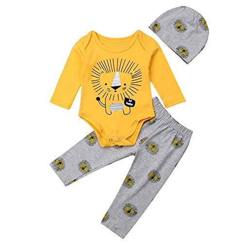 Geagodelia 3tlg Babykleidung Set Baby Jungen Kleidung Outfit Body Strampler + Hose + Mütze Neugeborene...