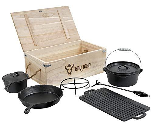BBQ-Toro Dutch Oven Set in Holzkiste mit Dutch Oven und mehr | Gusseisen - bereits eingebrannt (7-teilig)