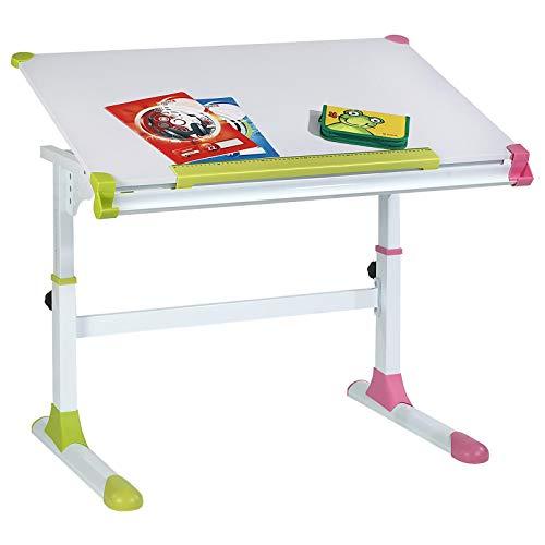 CARO-Möbel Kinderschreibtisch Schülerschreibtisch Helena höhenverstellbar und neigbar in weiß mit...
