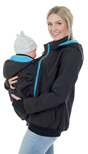 Divita 3in1 Tragejacke für Tragetuch Babytrage Umstandsjacke Softshell Allwetter Mama Baby D58 (S/M (36/38),...