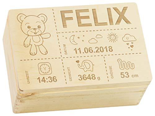 LAUBLUST Erinnerungsbox Baby Personalisiert - Teddybär Gravur - Geschenk zur Geburt | 30x20x14cm, Holzkiste...