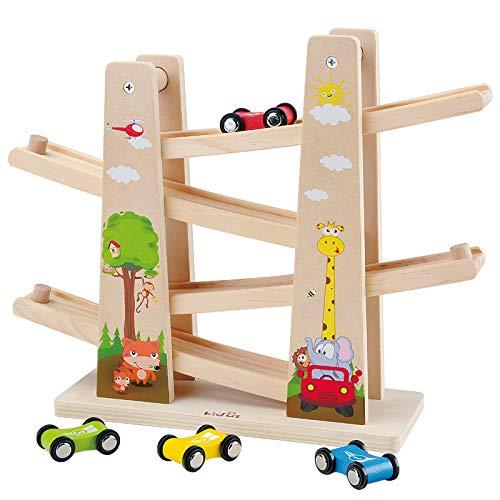 Baobë Kinder Kugelbahn Spielzeug Auto Rennbahn Holz Spielzeug mit 4 Fahrzeuge Auto Kinderspielzeug...