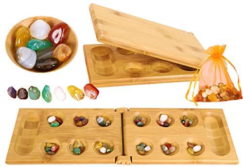Toys of Wood Oxford Hus Spiel Mancala Brettspiel - Kalaha Spiel Erwachsene Brettspiel mit klappbarem Holzbrett...