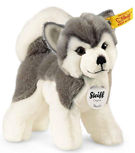 Steiff Bernie Husky - 17 cm - Plüschhund stehend - Hunde Kuscheltier für Kinder - weich & waschbar - grau /...