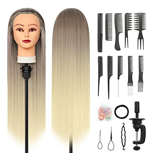 Frisierkopf, 28 inch Styling Friseurkopf 100% Synthetikfaser-Haar Styling Kopf Friseur Trainingsköpf mit...