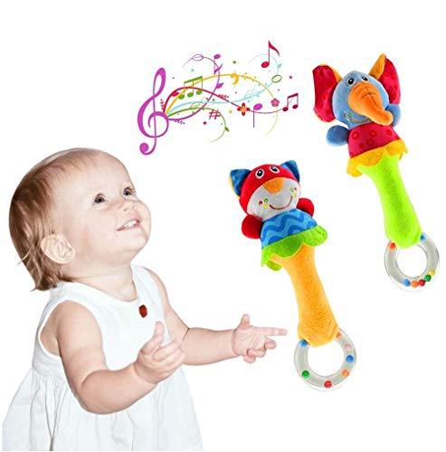 UiDor 2 Pack Greifling zum Rasseln,Cartoon Tier Baby Rassel Kleinkind Weiche Baby Musikinstrumente...