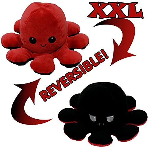 KUNSTIFY XXL Oktupus Stimmungs Kuscheltier, Riesen Stimmungs Oktopus Kuscheltier Tintenfisch wenden Octopus...