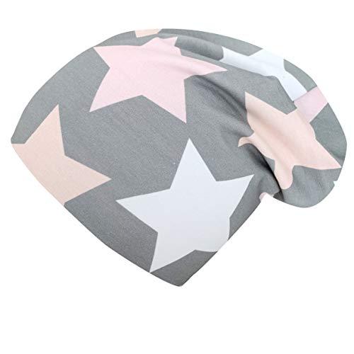Wollhuhn ÖKO Long-Beanie, Wende-Mütze, ganzjährig, Big Stars grau/rosa/pink, Innenseite Uni grau, für...