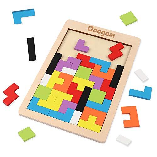 Coogam Holz Puzzle 40 Stück Tangram Puzzle Gehirntraining Spielzeug für Kinder, Holzpuzzle Box Gehirn Spiel...