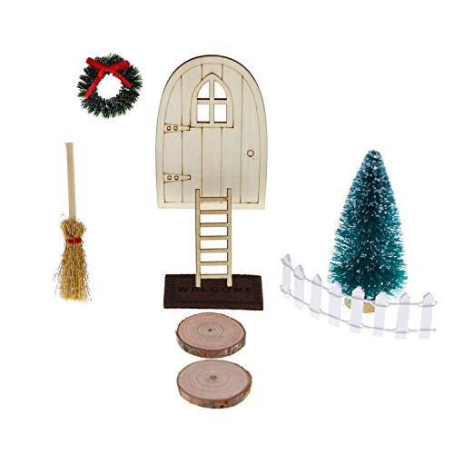 witgift Miniatur Puppenhaus Wichteltürs Garten Möbel Deko Holztür + Treppen + Fußmatte +Besen +...