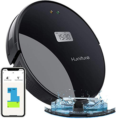 Saugroboter Q5,HONITURE 2-in-1 Staubsauger Roboter LCD mit Wischfunktion und intelligenter Navigation,350ml...