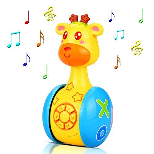 aovowog Baby Spielzeug ab 6 Monate Plus,Musikspielzeug Baby Spielzeug Cartoon Giraffe Tumbler für Kleinkinder...
