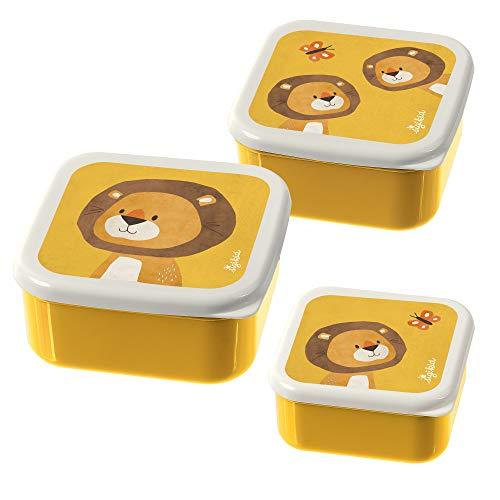 SIGIKID Jungen und Mädchen, Brotdosen mit buntem Druck, Snackboxen 3er-Set Löwe Forest für Kindergarten,...