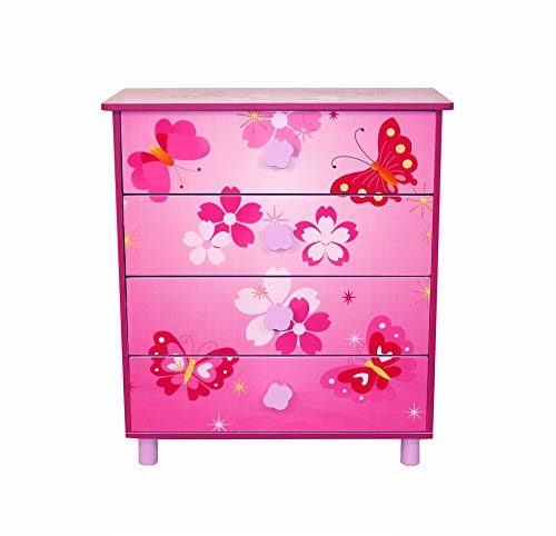 Homestyle4u 647 Kinderkommode Schmetterling Blumen , Kinderschrank mit 4 Schubladen für Kinderzimmer , Holz...