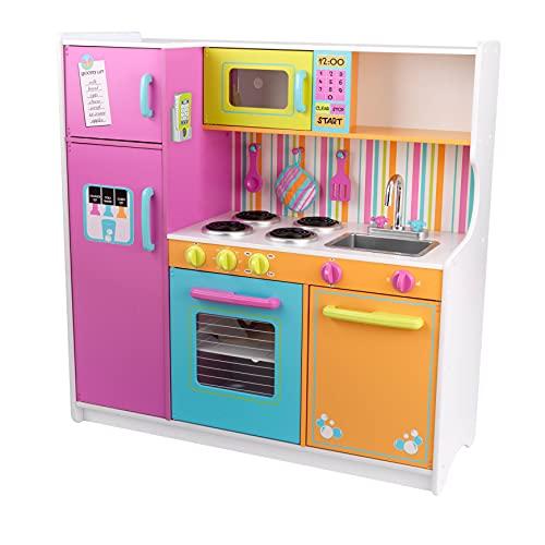 KidKraft 53100 Deluxe Big and Bright Hochwertige Spielküche aus Holz, Bunt